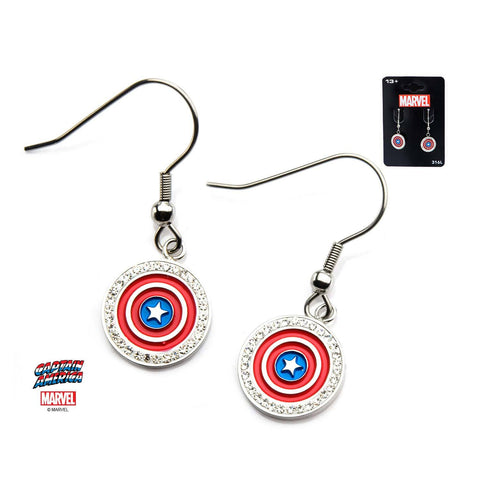Marvel Blue/Red/White Captain America Shield Logo with Clear CZ Dangle Earrings