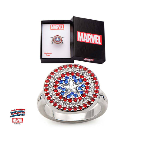 Marvel Multi Gem Captain America Logo Bling Ring