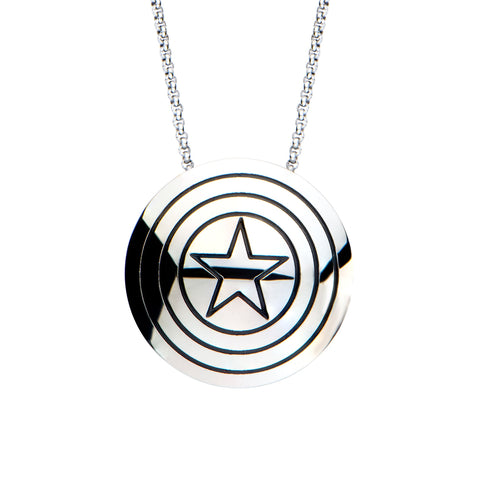 Marvel Captain America Shield Star Pendant Necklace