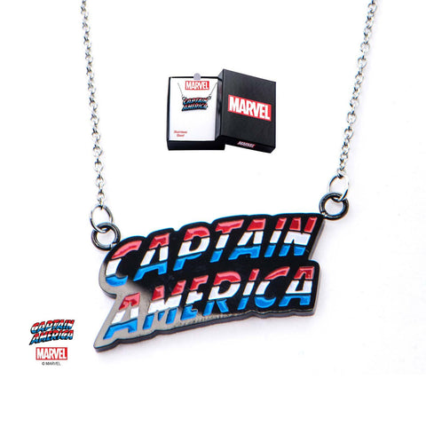 "Marvel Spelled ""Captain America"" Pendant Necklace"