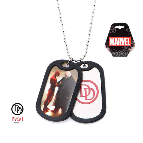Marvel Daredevil Graphic Logo Front with Rubber Silencer Double Dog Tag Pendant Necklace