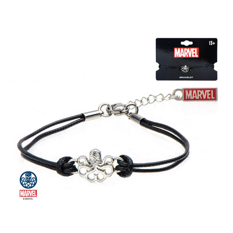 Marvel Cut Out Hydra Logo with Black Cotton Wax Cord Bracelet