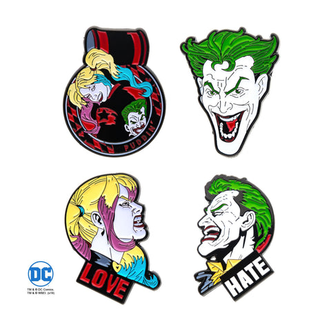 DC Comics Joker and Harley Quinn Face Lapel Pin Set (4pcs)