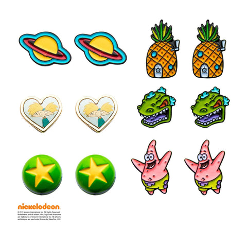 Nickelodeon Characters Stud Earrings Set (6pcs)