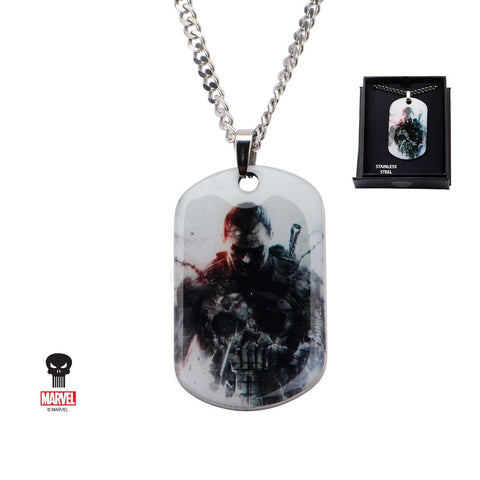 Marvel Punisher Graphic Front Dog Tag Pendant Necklace