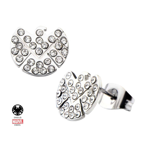 Marvel Cut Out S.H.I.E.L.D Logo with Clear CZ Gem Stud Earrings