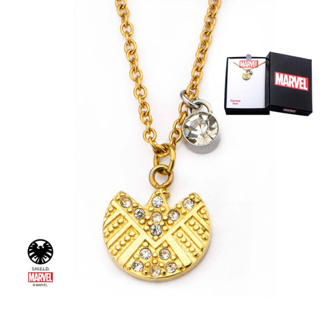 Marvel S.H.I.E.L.D. Logo with Clear CZ Pendant Necklace