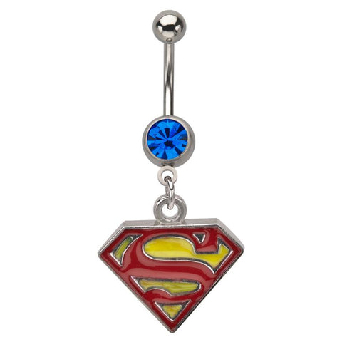 DC Comics Red/Yellow Superman Logo with Gem Dangle Navel