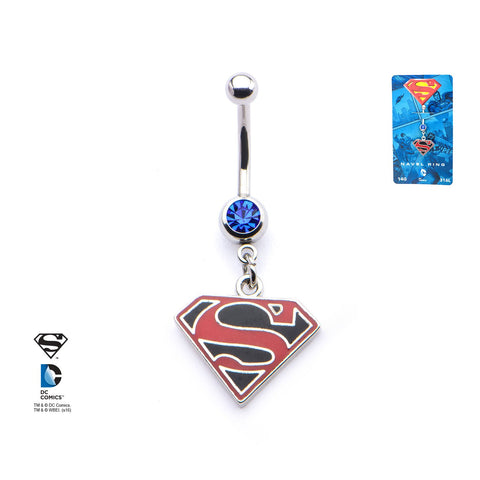 DC Comics Red/Black Superman Logo with Gem Dangle Navel