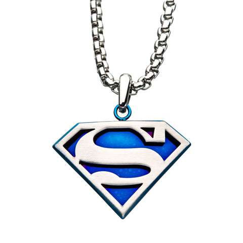 DC Comics Superman Blue Mirror Pendant Necklace