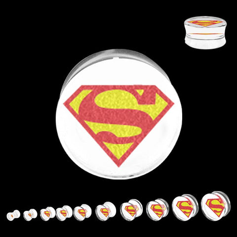 DC Comics Red/Yellow Superman Logo Acrylic Double Flared Plug