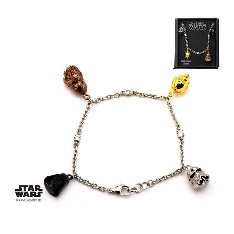 Star Wars 3D Characters Face Charm Tween Bracelet