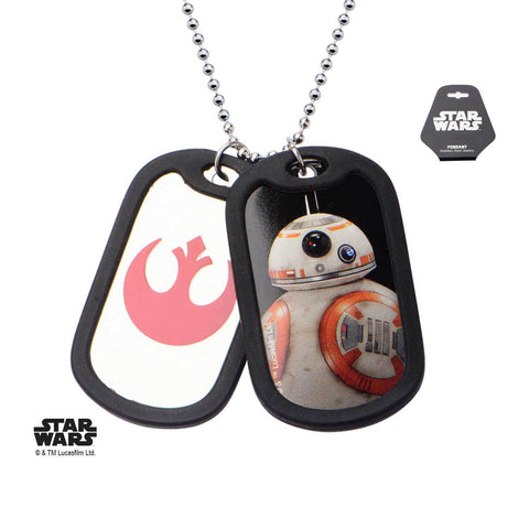 Star Wars Episode 7 BB-8 Rubber Silencer Double Dog Tag Pendant Necklace