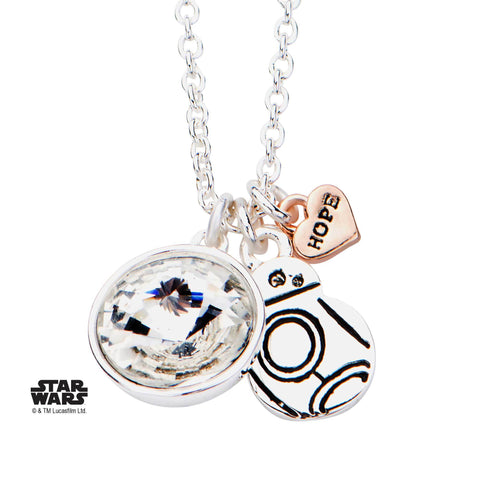 Star Wars Episode 7 BB-8 with Clear Gem Pendant Necklace
