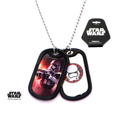 Star Wars Episode 7 Stormtrooper Rubber Silencer Double Dog Tag Pendant Necklace