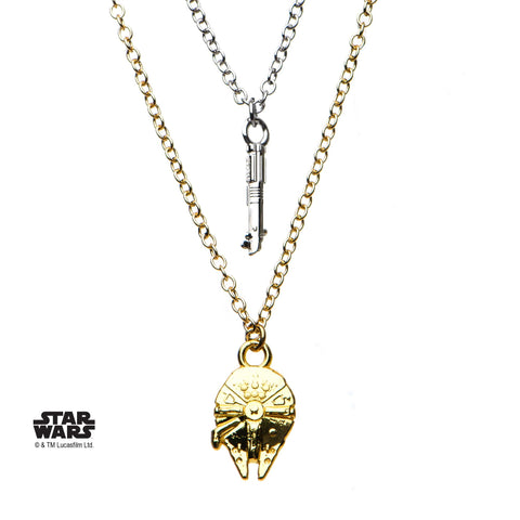 Star Wars Episode 8 Lightsaber and Millennium Falcon Tiered Necklace