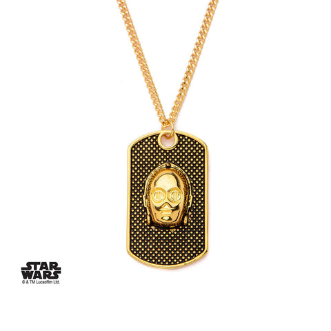 Star Wars 3D C-3PO Face Dog Tag Pendant Necklace