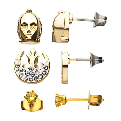 Star Wars C-3PO & Rebel Symbol Stud Earrings Set (3pcs)