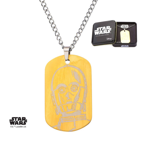 Star Wars C-3PO Dog Tag Pendant Necklace