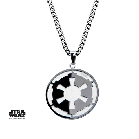 Star Wars Galactic Empire and Death Star Etched Pendant Necklace