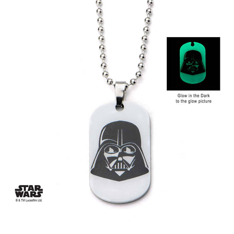 Star Wars Glow in the Dark Darth Vader Dog Tag Pendant Necklace