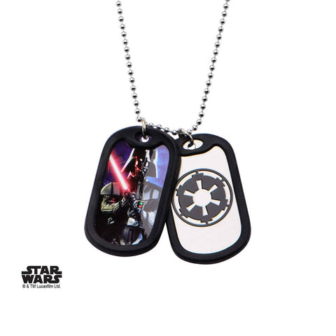 Star Wars Darth Vader Rubber Silencer Double Dog Tag Pendant Necklace