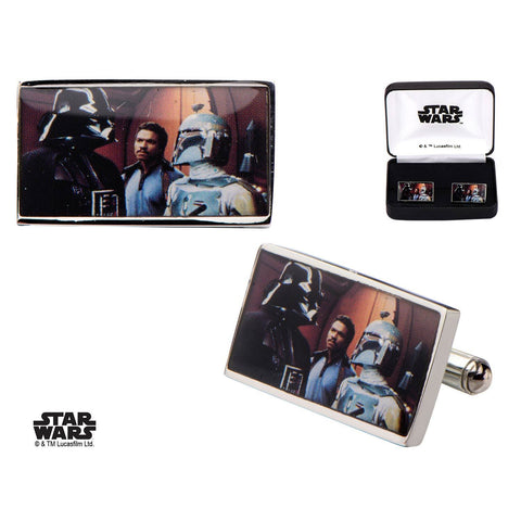 Star Wars Darth Vader and Boba Fett Printed Rectangular Cufflinks