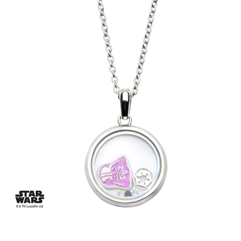 Star Wars Pink Glitter Darth Vader Beads Pendant Necklace