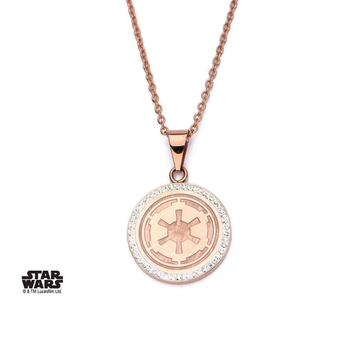 Star Wars Galactic Empire Symbol with CZ Pendant Necklace