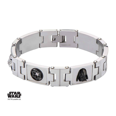 Star Wars Galactic Empire, Darth Vader and Stormtrooper Symbol Link Bracelet