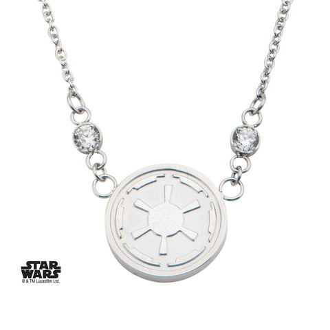 Star Wars Galactic Empire Symbol with CZ Small Pendant Necklace