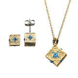 Star Wars Jedi Holocron Stud Earrings & Pendant Necklace Set