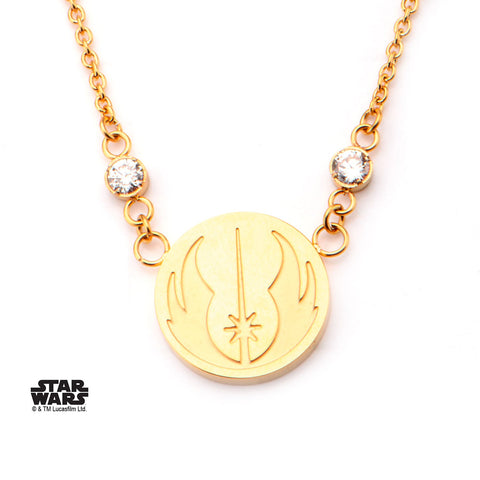 Star Wars Jedi Symbol with CZ Pendant Necklace