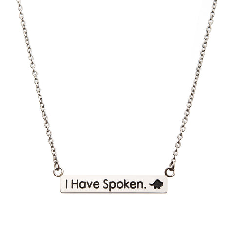"Star War Mandalorian Kuiil "" I have Spoken"" Bar Pendant Necklace"