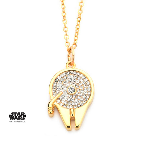Star Wars Gold Plated Millennium Falcon with CZ Gem Pendant Necklace
