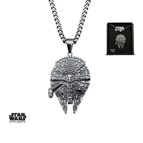Star Wars Black Plated Millennium Falcon Pendant Necklace
