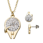Star Wars Millennium Falcon Stud Earrings & Pendant Necklace Set