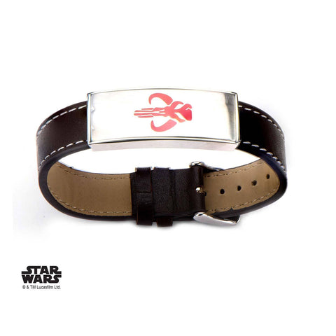 Star Wars Mandalorian Symbol ID Plate and Brown Leather Bracelet