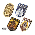 Star Wars R2-D2, C-3PO, Chewbacca and Jawa Lapel Pin Set