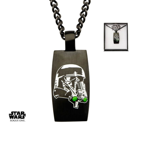 Star Wars Rogue One Stormtrooper & Death Trooper Green Enamel Dog Tag Pendant Necklace