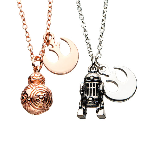 Star Wars R2-D2 & BB-8 Best Friend Pendant Necklace Set