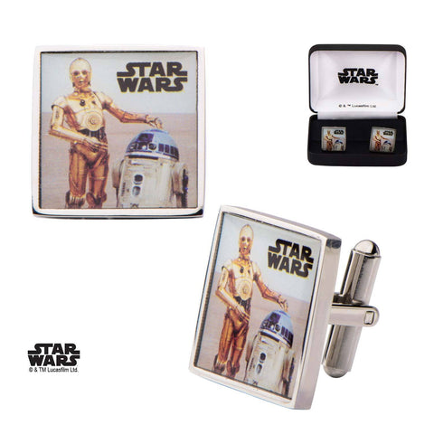 Star Wars R2-D2 and C-3PO Printed Square Cufflinks