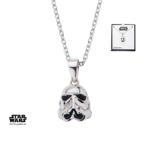 Star Wars 3D Stormtrooper Pendant Necklace, 925 Sterling Silver