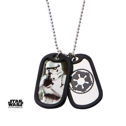 Star Wars Storm Trooper Rubber Silencer Double Dog Tag Pendant Necklace