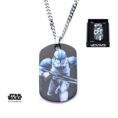 Star Wars Graphic Stormtrooper Dog Tag Pendant Necklace