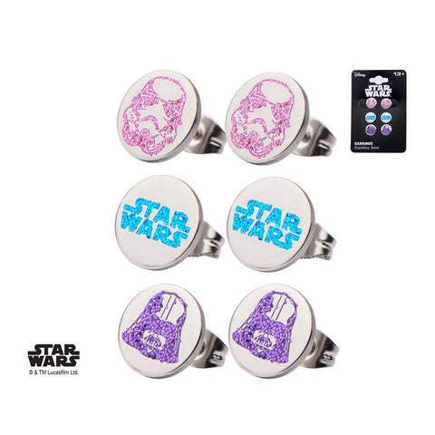 Star Wars Logo, Darth Vader and Stormtrooper Tween Stud Earrings Set