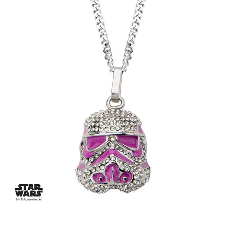 Star Wars Stormtrooper Pink Enamel with Clear Gem Pendant Necklace
