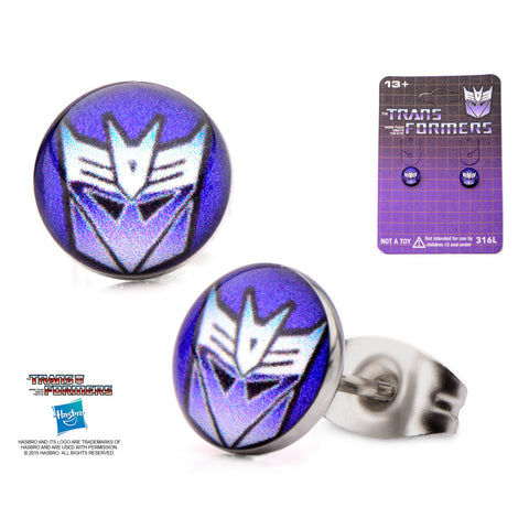 Transformers Printed Decepticon Logo Stud Earrings