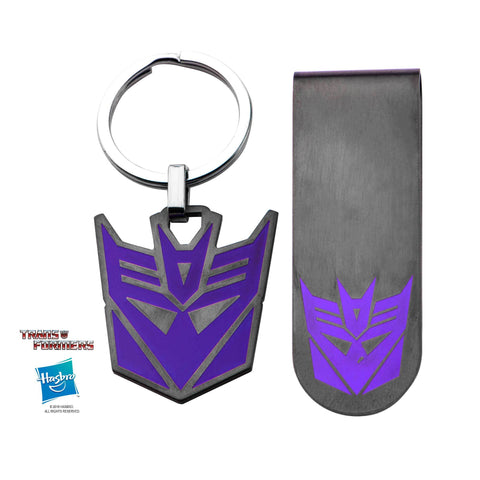 Transformers Decepticon Logo Money Clip and Key Chain Set