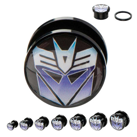 Transformers Decepticon Logo Acrylic Screw Fit Plug